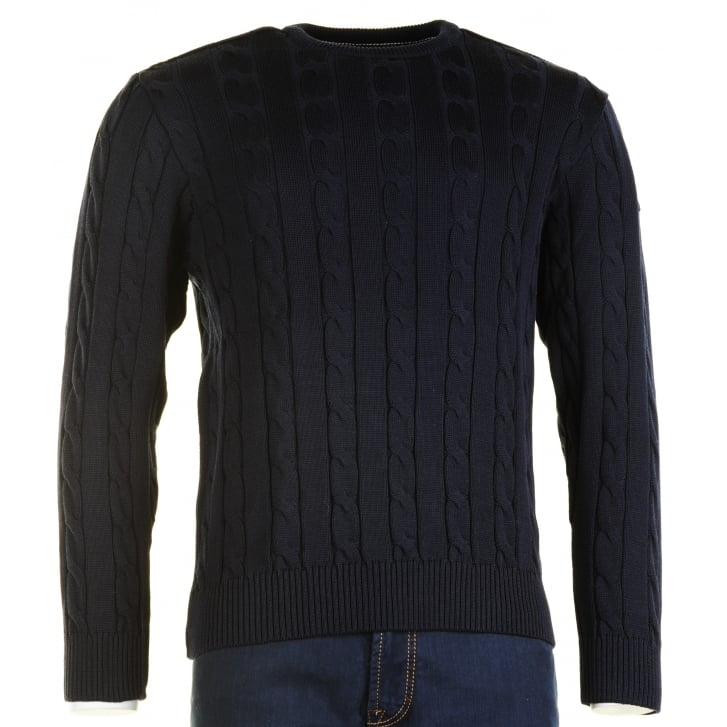 PAUL & SHARK Quality Cable Knit Round Neck Jumper