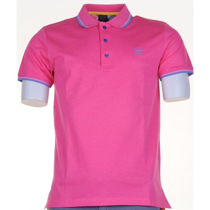 PAUL & SHARK Quality Italian Cotton Polo Shirts in Pink or Blue