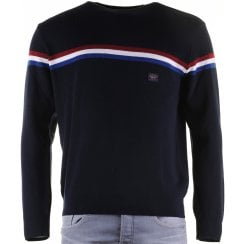 Quality Round Neck Wool Mix Navy Sweater