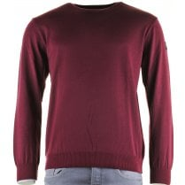Round Neck Pure Wool Sweater in Royal or Wine