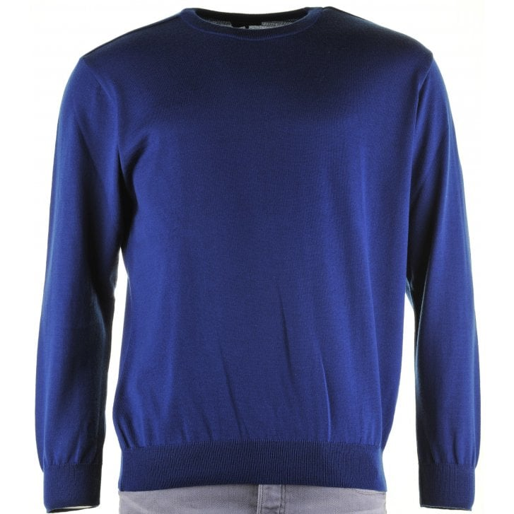 PAUL & SHARK Round Neck Pure Wool Sweater in Royal or Wine