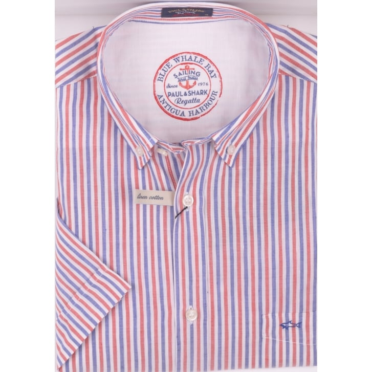 PAUL & SHARK Short Sleeved Linen and Cotton Stripe Shirt