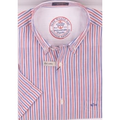 Short Sleeved Linen and Cotton Stripe Shirt