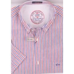 Short Sleeved Linen and Cotton Stripe Shirt