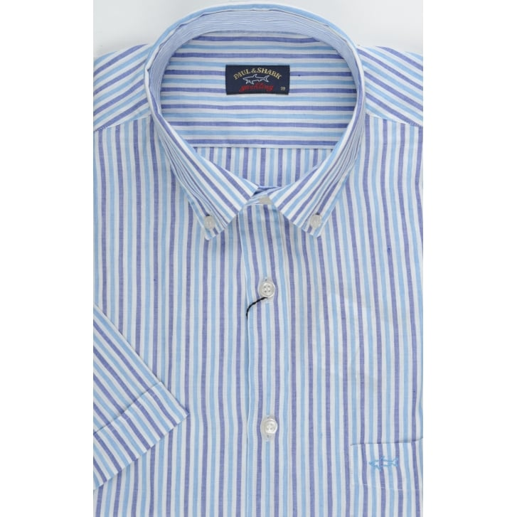 PAUL & SHARK Short Sleeved Linen Mix Striped Shirt