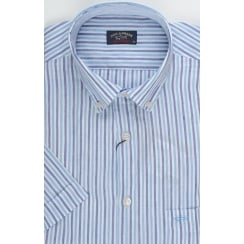 Short Sleeved Linen Mix Striped Shirt