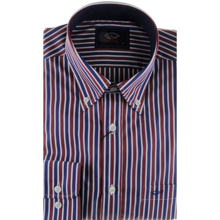 PAUL & SHARK Stripe Cotton Shirt with Trim and Button Down Collar