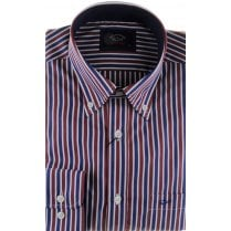 Stripe Cotton Shirt with Trim and Button Down Collar