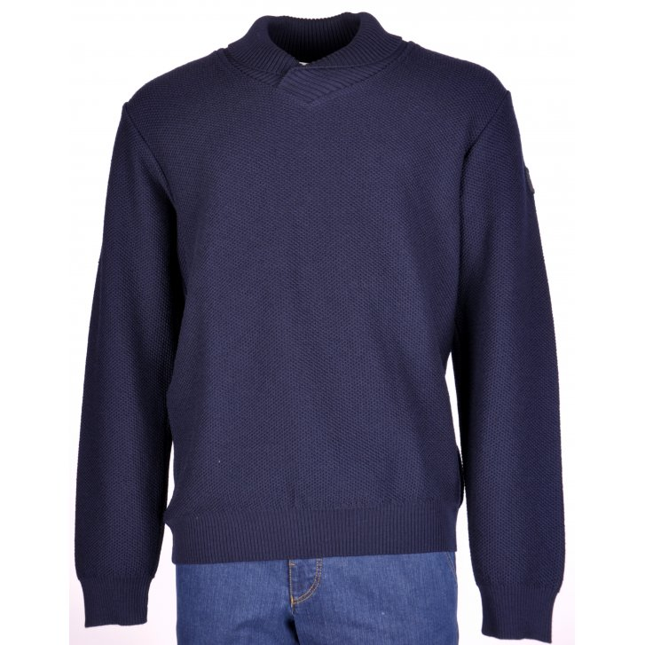PAUL & SHARK Stylish Pure Wool Navy Chunky Knitwear with Collar
