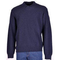 Stylish Pure Wool Navy Chunky Knitwear with Collar