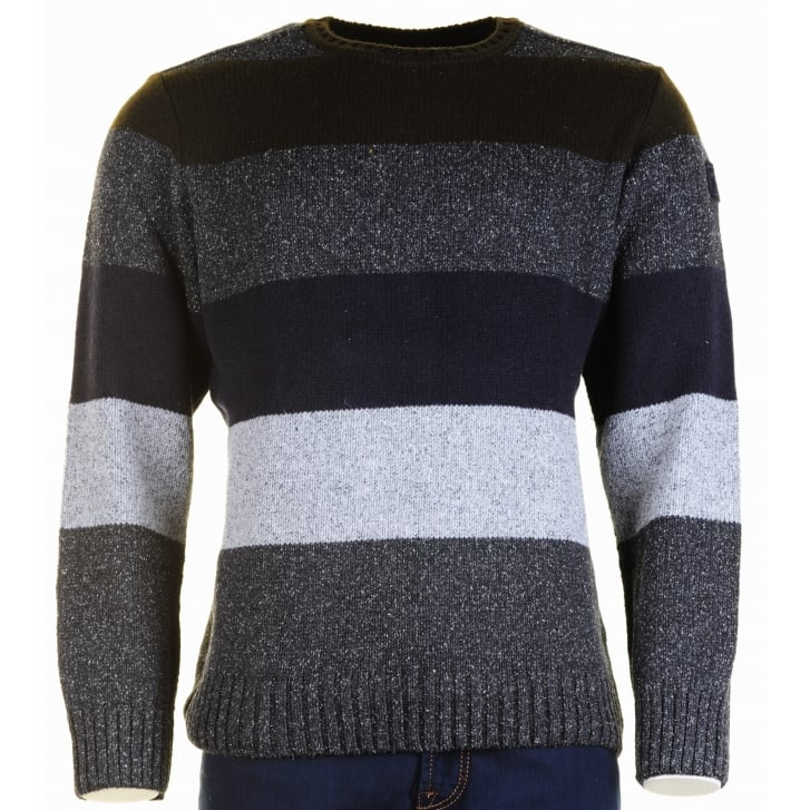 PAUL & SHARK Wool and Silk Mix Striped Round Neck Sweater