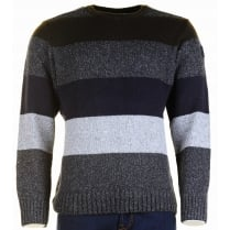 Wool and Silk Mix Striped Round Neck Sweater