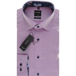 Pinky Lilac Cotton Shirt with Button Under Collar