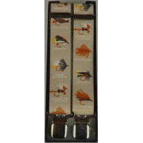 Adjustable Clip Braces with Fishing Flies on