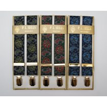 Mens Adjustable Gilt Clip Paisley Design Braces