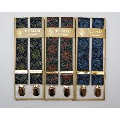 Mens Adjustable Gilt Clip Paisley Design Braces