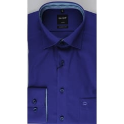 Plain Cotton Shirt with Trim in Navy or Purple