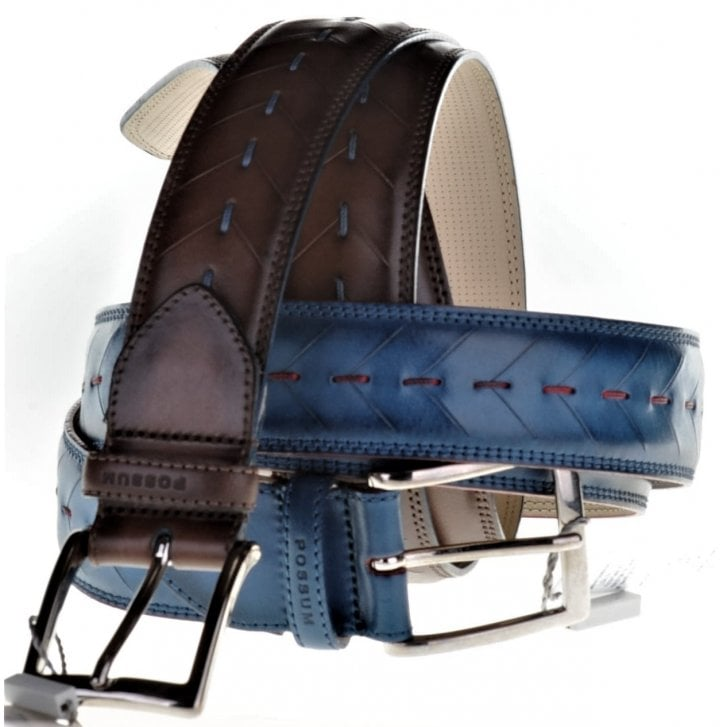 POSSUM Leather Belt with Stitch Detail in Blue or Brown