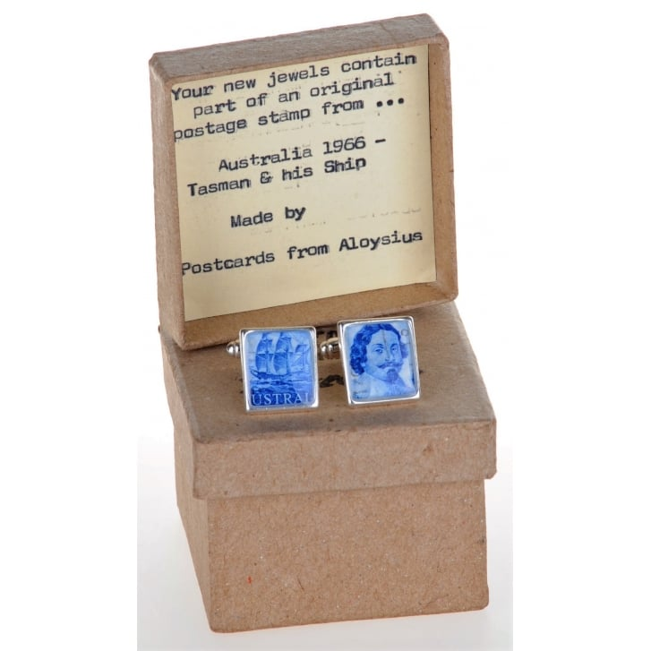 POSTCARDS FROM ALOYSIUS Unique Stamp Cufflinks Showing Tasman and his Ship