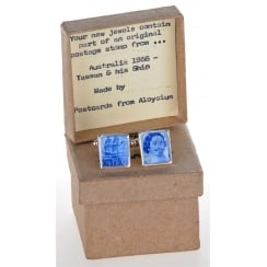 Unique Stamp Cufflinks Showing Tasman and his Ship