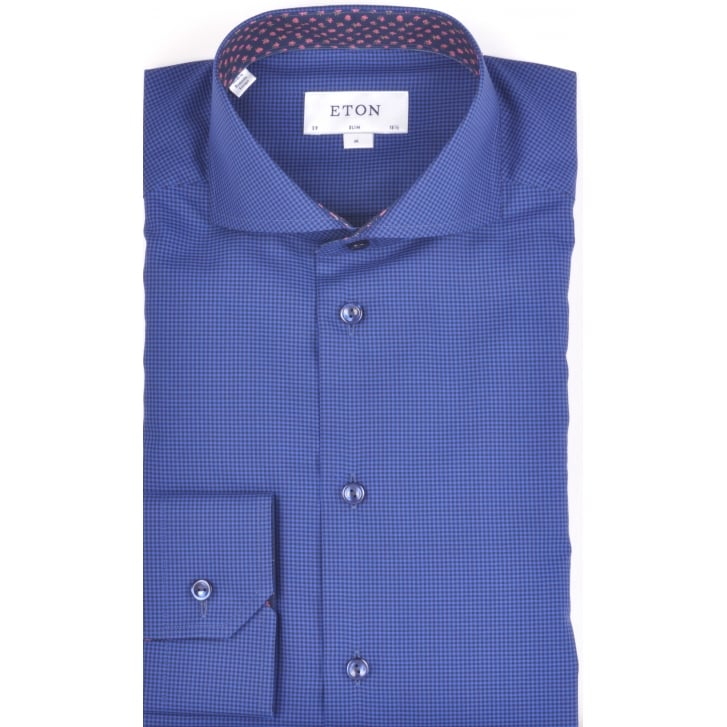 ETON Pure Cotton Long Sleeved Shirt in a Micro Check