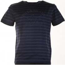 Pure Organic Cotton Navy Striped Slim Fit T Shirt