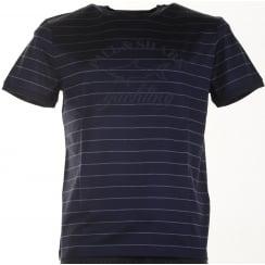 Pure Organic Cotton Navy Striped Slim Fit T Shirt