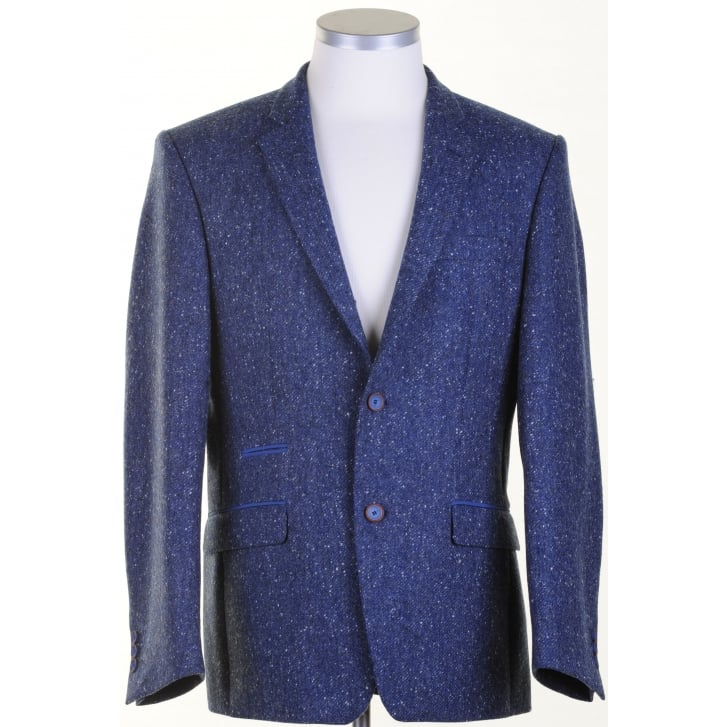 SANTINELLI Pure Wool Jacket in a Blue Donegal Pattern