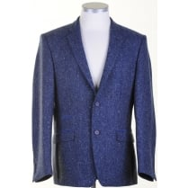 Pure Wool Jacket in a Blue Donegal Pattern