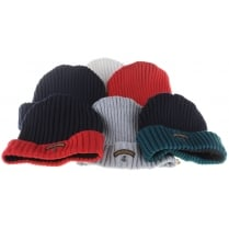 Pure Wool Knitted Hat in Red, Grey, Navy or Cream with Badge Logo