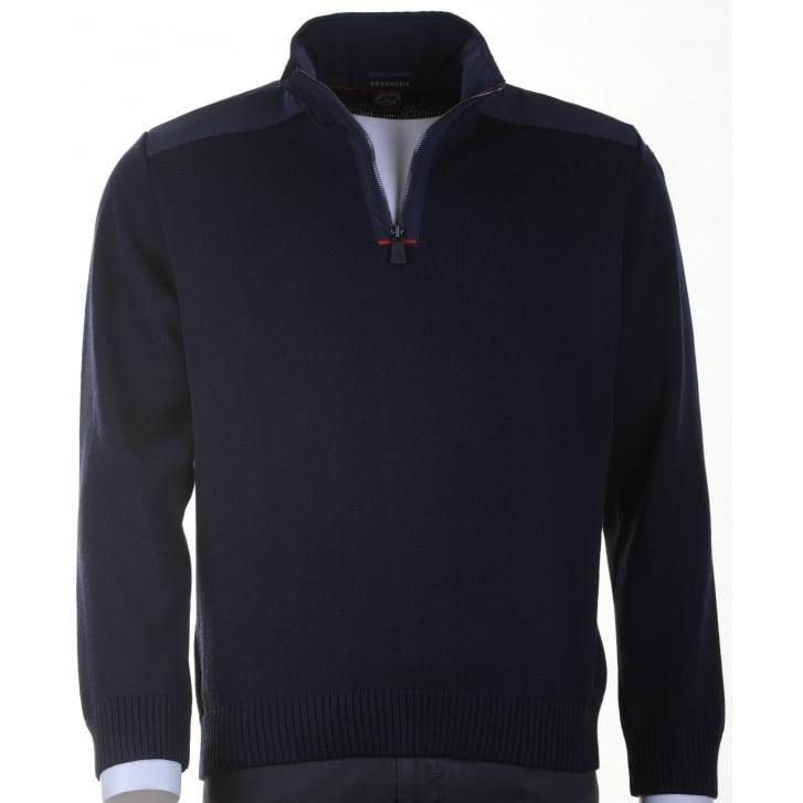 PAUL & SHARK Pure Wool Knitwear with 1/4 Zip in Navy