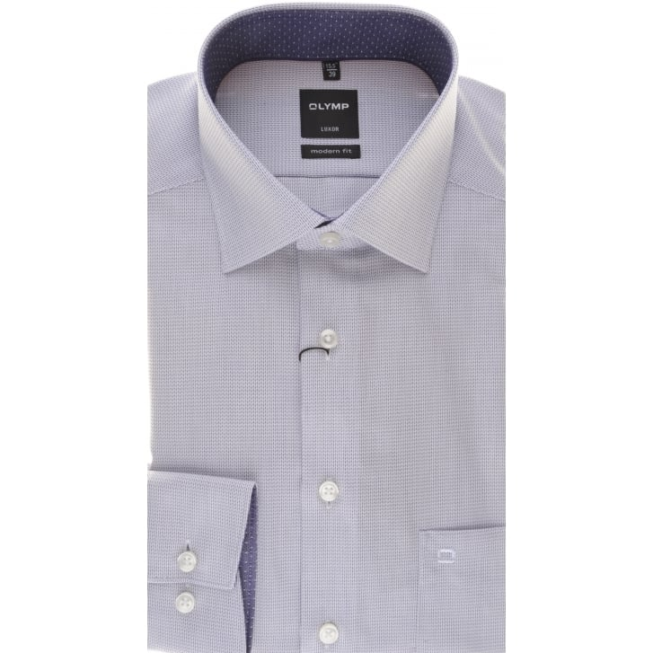 OLYMP Purple Patterned Luxor Cotton Shirt with Trim