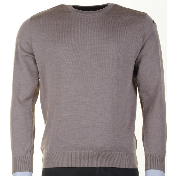 PAUL & SHARK Quality Wool Round Neck Sweater in Blue or Taupe