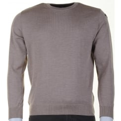 Quality Wool Round Neck Sweater in Blue or Taupe