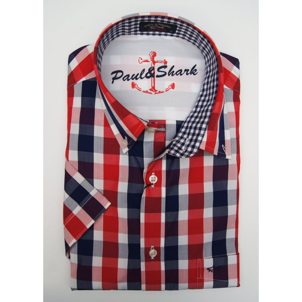 Paul shark red white and navy cotton checked short for Red and white button down shirt