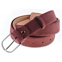 Belt in Spotted suede leather in Navy, Wine or Tan
