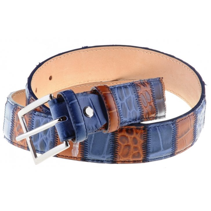 ROBERT CHARLES Blue and Tan Patched Leather Chrome Buckle Belt
