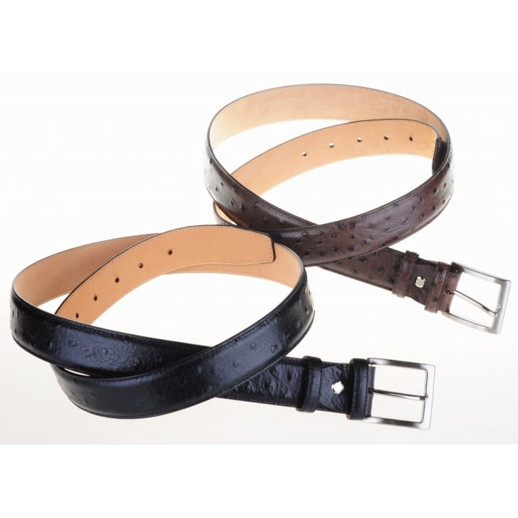 ROBERT CHARLES Leather Ostrich Style Skin Belt with Chrome Buckle