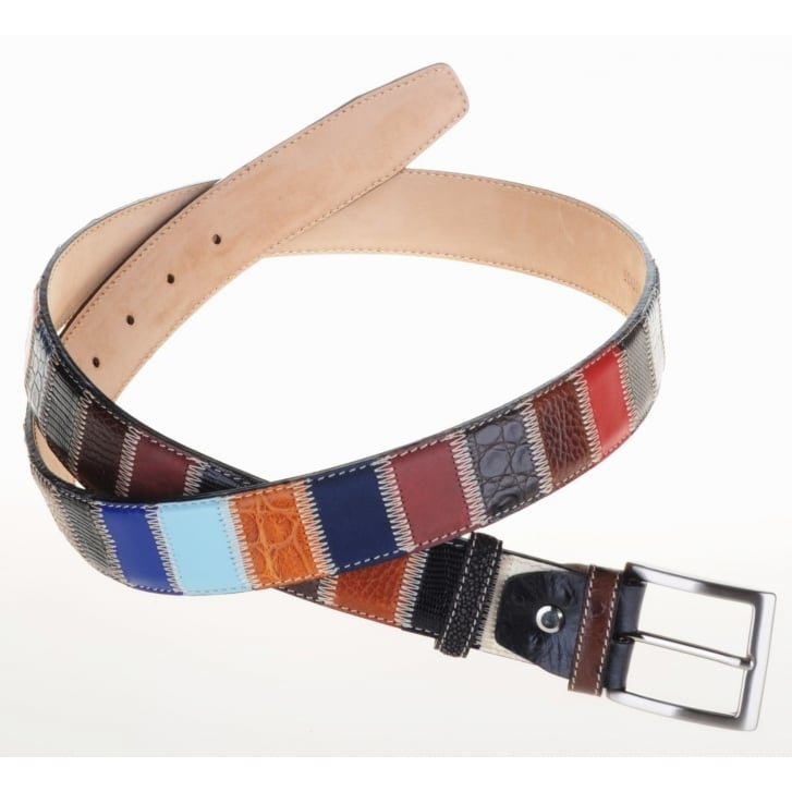 ROBERT CHARLES Multi Patched Leather Chrome Buckle Leather Lined Belt