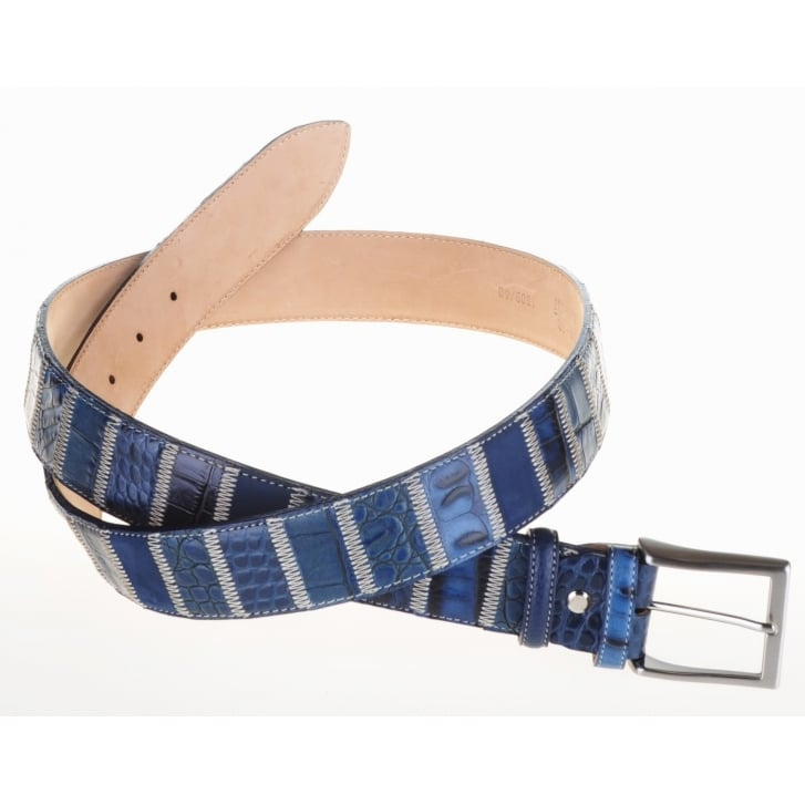 ROBERT CHARLES Patchwork Leather Belt 40mm Wide in Blue