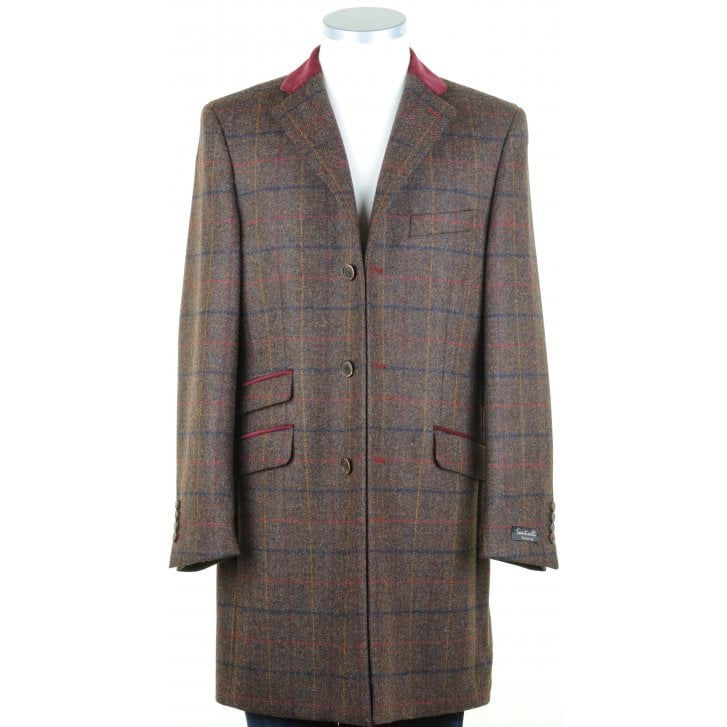 SANTINELLI Brown Shetland Tweed Coat with Velvet Collar