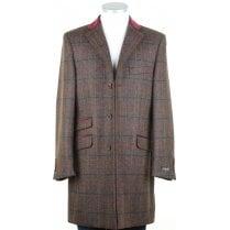 Brown Shetland Tweed Coat with Velvet Collar