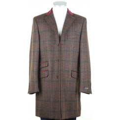 Brown Shetland Tweed Coat with Velvet Collar