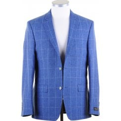 Linen Mix Blue Cloth with Overcheck Summer Jacket