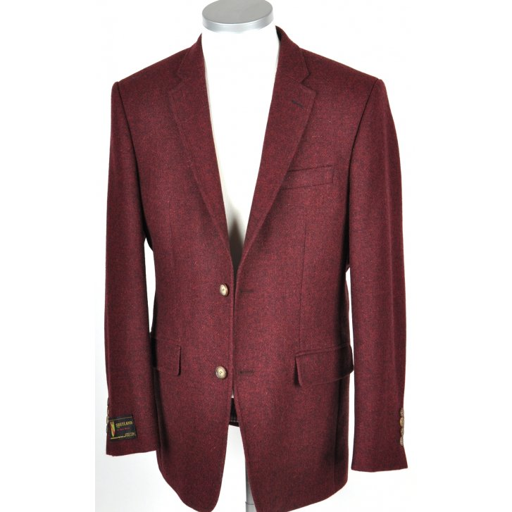 SANTINELLI Mens Shetland Type Tweed Jacket in Wine