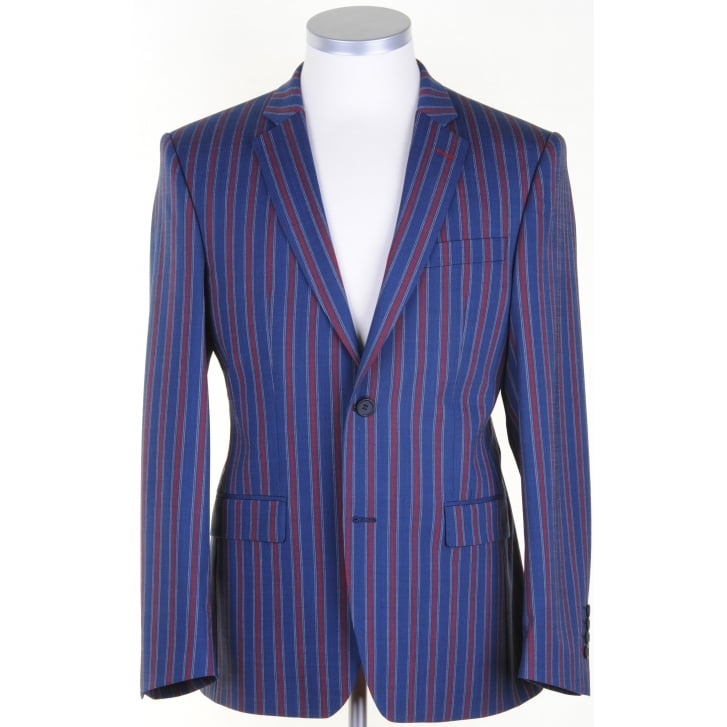 SANTINELLI Navy and Red Striped Blazer