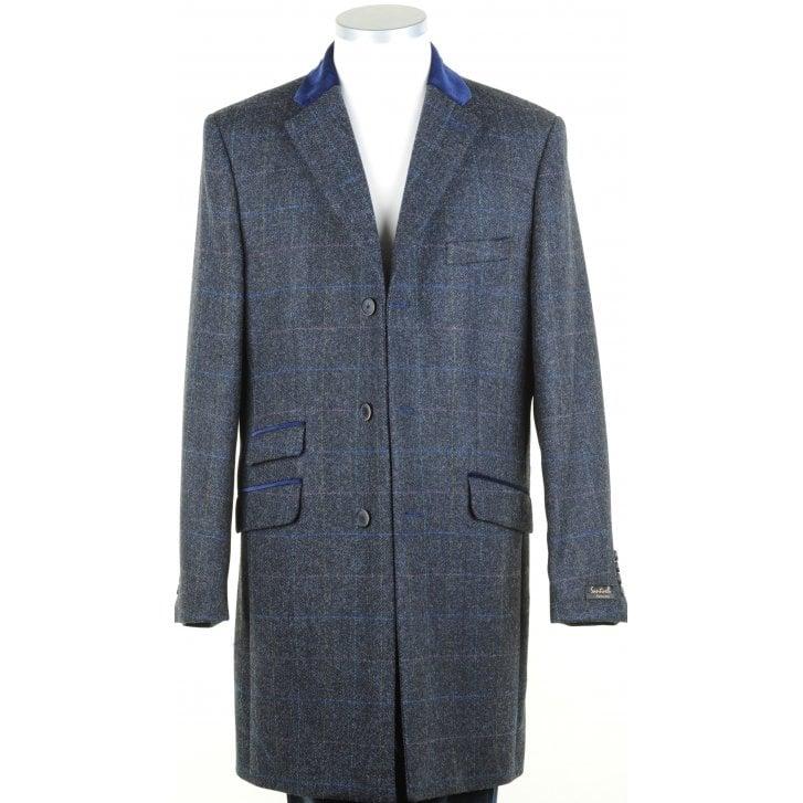 SANTINELLI Navy Shetland Tweed Coat with Velvet Collar