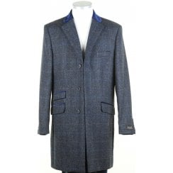 Navy Shetland Tweed Coat with Velvet Collar