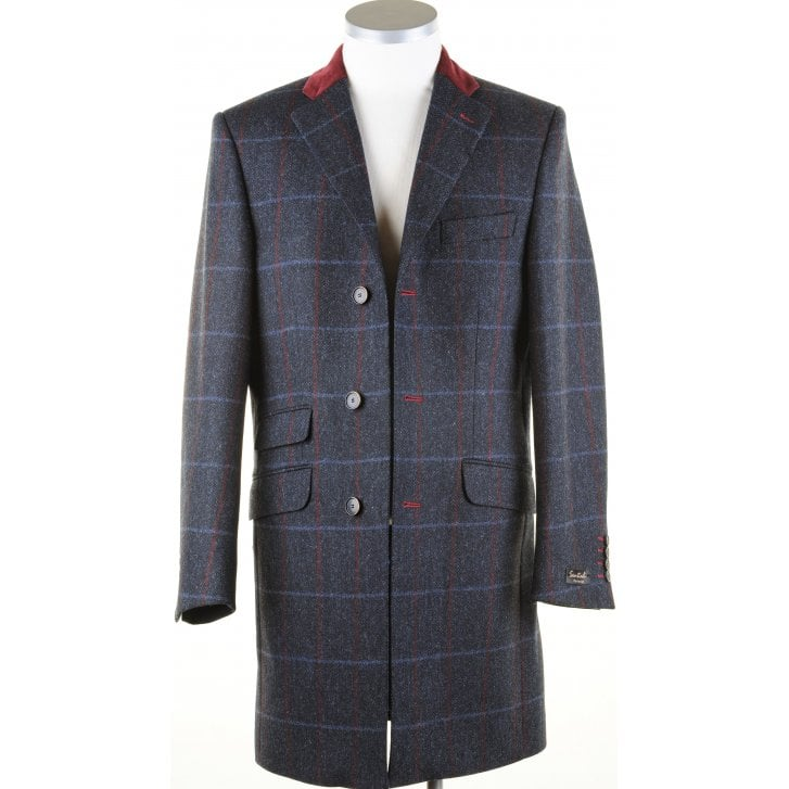 SANTINELLI Navy Tweed Coat with Velvet Collar