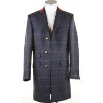Navy Tweed Coat with Velvet Collar